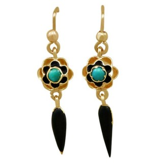 Turquoise and Enamel. 18 ct Yellow Gold Earrings - Antique Circa 1890