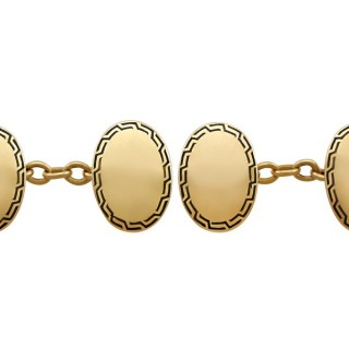 Enamel and 15 ct Yellow Gold Cufflinks - Antique Circa 1900