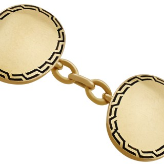 Enamel and 15 ct Yellow Gold Cufflinks - Antique Circa 1900