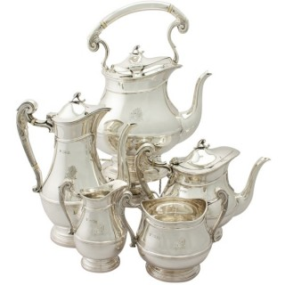 Sterling Silver Five Piece Tea and Coffee Service - Art Nouveau Style - Antique Edwardian