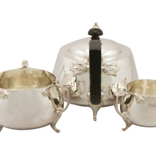 Sterling Silver Three Piece Tea Service - Art Nouveau Style - Antique George V (1917)
