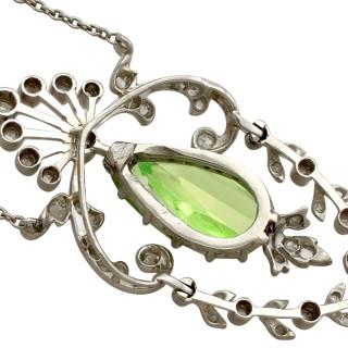 2.28ct Peridot and 0.52ct Diamond, Platinum Necklace - Belle Époque - Antique Circa 1900