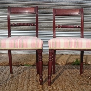 Pair of Early 19th Century Regency Mahogany Antique Dining Chairs