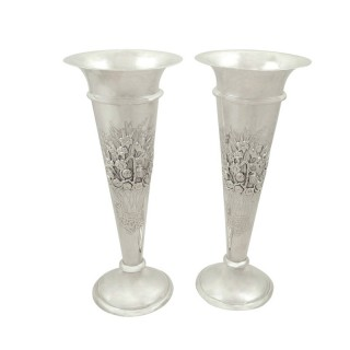 Pair of Antique Edwardian Sterling Silver Vases 1908