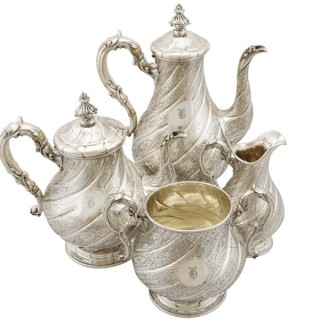 Sterling Silver Four Piece Tea and Coffee Service - Victorian (1863)