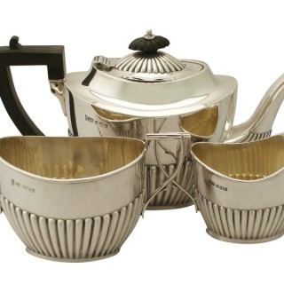 Sterling Silver Three Piece Bachelor Tea Service - Queen Anne Style - Antique Edwardian