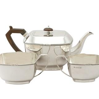 Sterling Silver Three Piece Tea Service - Art Deco - Antique (1934)