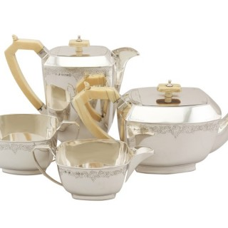 Sterling Silver Four Piece Tea and Coffee Service - Art Deco Style - Antique George V (1935)
