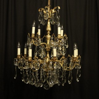 Italian Gilt Bronze & Crystal 12 Light Antique Chandelier