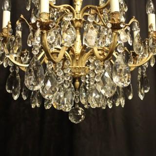 Italian Gilt Bronze & Crystal 12 Light Antique Chandelier