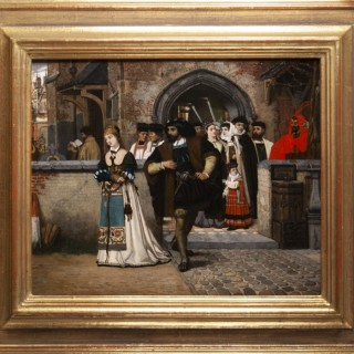 A procession with Faust and Marguerite outside a church, watched by Mephistopheles.