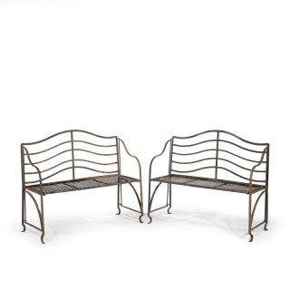 An Elegant Pair of Mid 20th Century Iron Garden Benches