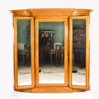Antique Victorian English Satinwood & Tulipwood Wardrobe c.1880 19th C