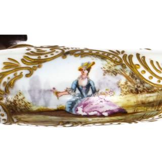 Antique German Hand Painted Porcelain Pommel Walking Stick Cane 19th C