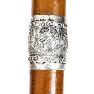 Antique Walking Cane Stick Sterling Silver Horse Head Handle 1888 19th Century