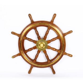 Antique Large 95 cm Oak and Brass Set 8-Spoke Ships Wheel C 1880 19th Century