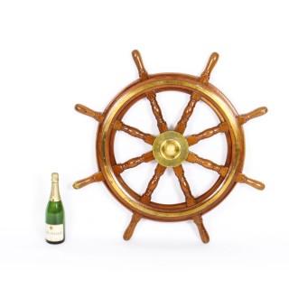 Antique Large 95 cm Oak and Brass Set 8-Spoke Ships Wheel C 1880 19th Century