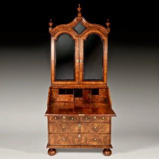 Early 18th Century George I Figured Walnut Bureau Bookcase