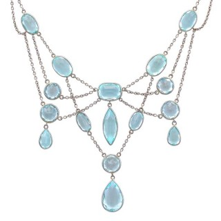 36.38ct Aquamarine and Platinum, 18ct White Gold Necklace - Antique Circa 1920