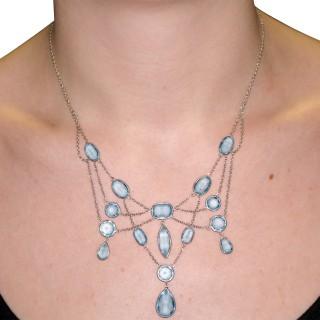 36.38ct Aquamarine and Platinum, 18ct White Gold Necklace - Antique Circa 1920