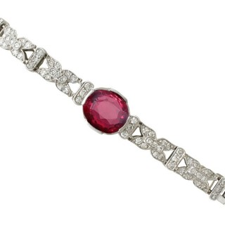 Antique Swedish 1938 2.27ct Garnet and 1.09ct Diamond 18ct White Gold Bracelet