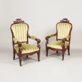 An Imposing Pair of French Louis Philippe Fauteuils