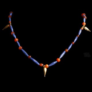 Egyptian Bead Necklace with Gold Drop Amulets