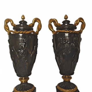 Pair Of 19th Century French Bronze And Gilt Serpent Handle Vases