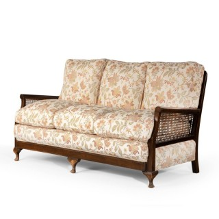 An Attractive Late 20th Century Mahogany and  Canework Sofa