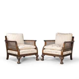 A Most Attractive Pair of Early 20th Century Bergere Chairs