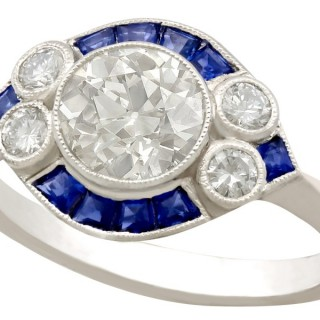 1.48ct Diamond and 0.46ct Sapphire, Platinum Dress Ring - Antique and Contemporary