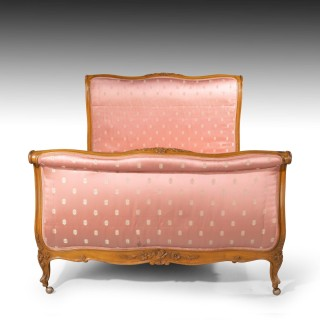 A Well Carved Early 20th Century Continental Satin Birch Double Bed
