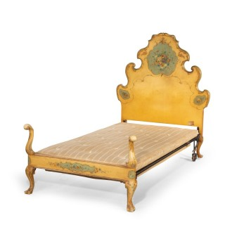A Very Stylish Early 20th Century Single Bed with a Rococo Headboard