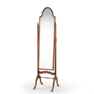 An Elegant Late 20th Century  Queen Anne Style Cheval Mirror