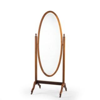 An Attractive Mid 20th Century Mahogany Framed Cheval Mirror