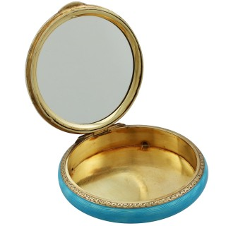 Austrian Sterling Silver and Enamel Compact - Antique Circa 1940