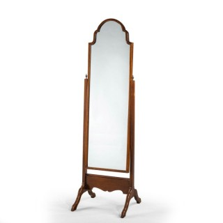 A Mahogany Framed Cheval Mirror of Queen Anne Design