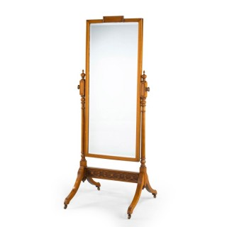 A Late Regency Mahogany Framed Cheval Mirror