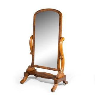 A Substantial Mid Victorian Mahogany Framed Cheval Mirror
