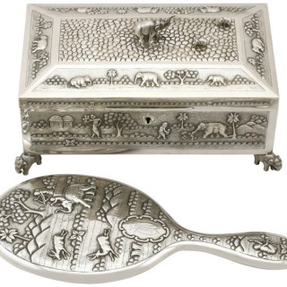 Indian Silver Dressing Table Set - Antique Circa 1890