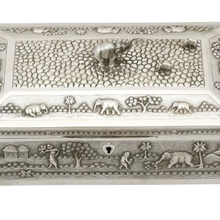 Indian Silver Jewellery Casket and Hand Mirror  - Antique Circa 1890