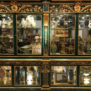 Exceptionally large gilt bronze and malachite vitrine cabinet