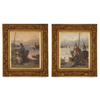 Set of two oil paintings of fishermen by F. Hörde