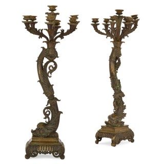 Belle Époque period gilt bronze candelabra