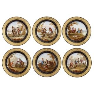 Six Rococo Sèvres style porcelain plates