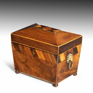 A Most Attractive Flared George III Period Mahogany Caddy.