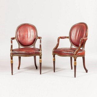 A Fine Pair of Armchairs in the Neo-classical manner of Robert Adam