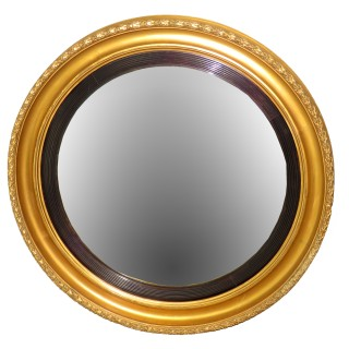 19th Century Antique Large Giltwood Convex Mirror