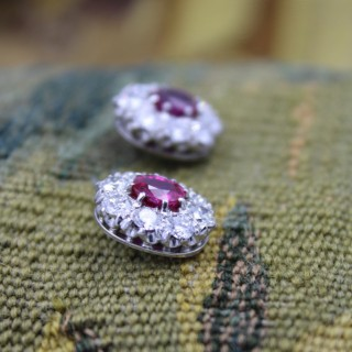 An Exceptional Pair of Natural Burmese Ruby & Diamond Oval Cluster Earrings Circa 1950