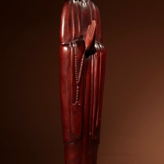 A Very Stylish Finely Carved Art Deco Wooden Sculpture Of A Praying Figure.